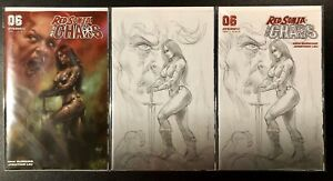 RED-SONJA-AGE-OF-CHAOS-6-PARRILLO-SET-OF-3-Cvr-A-1-15-1-40-B-amp-W-Variants