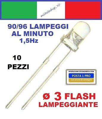 10 X Verde Lampeggiante 3mm LED Lampadina