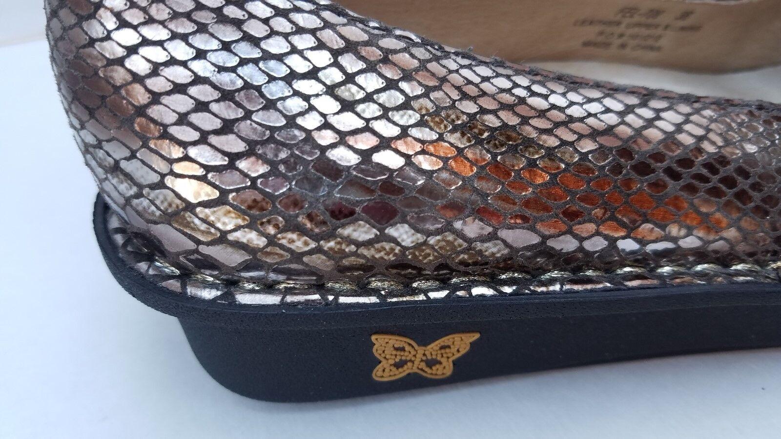 Alegria schuhe Feliz Mary Jane braun Silber Metallic Snakeskin Leather Leather Leather 36 FEL 709 b1b490
