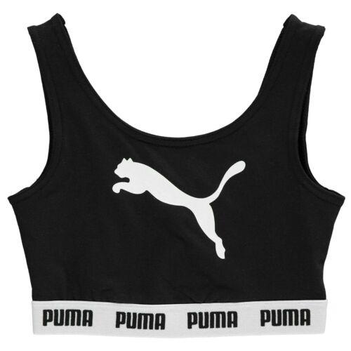 Puma Kids Girls Tape Crop Top Junior Sports Bra Crew Neck Stretch Print
