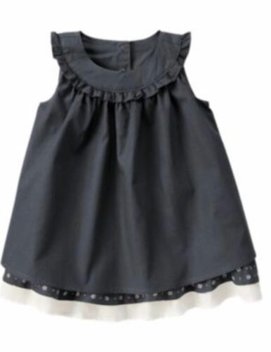 Gymboree First Play Date 3-6-12-18-24 Dobby Dress 2 Piece Set Outfit Navy Blue