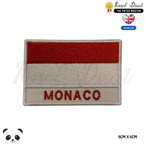 MONACO-National-Flag-With-Name-Embroidered-Iron-On-Sew-On-Patch-Badge