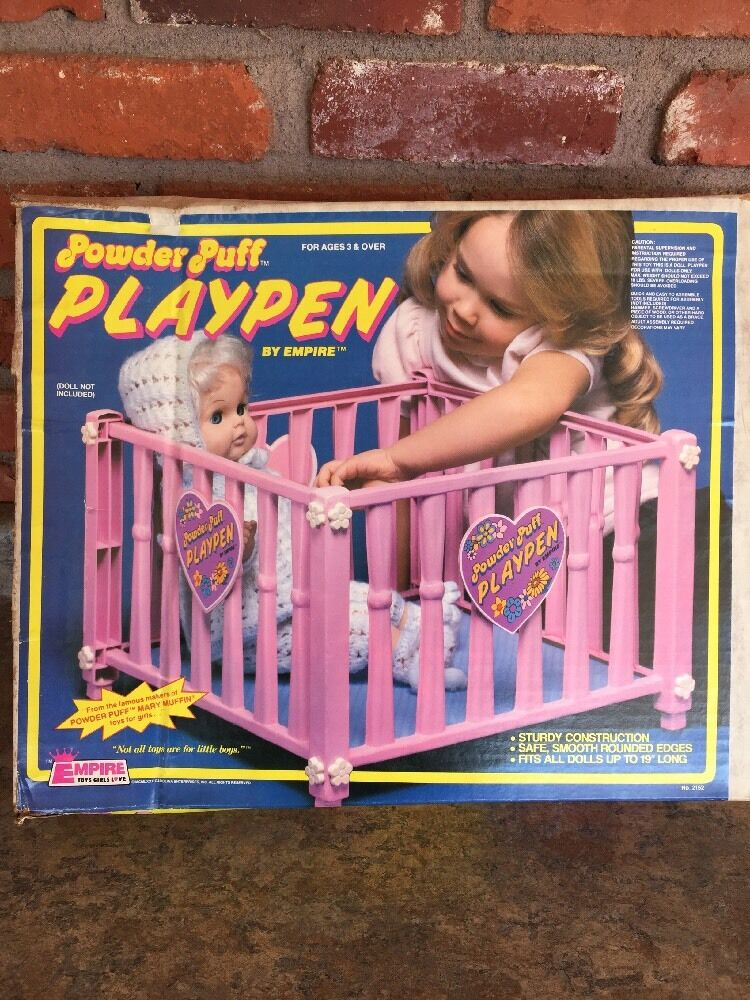Vintage 1980 Pink Powder Puff Mary Muffin Playpen By Empire in open Original Box