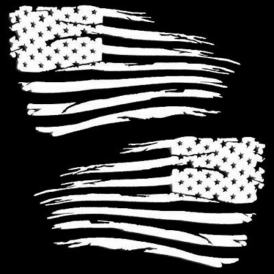 """Gloss Black 10/"""" x 18/"""" V2 Set of 2 pc American Flag Decal Distressed Military"""