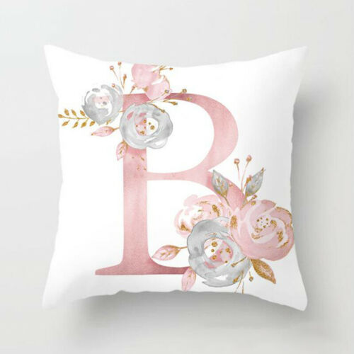 Pink Cushion Cover Letter Print Pillow Case Throw Pillowcase Car Home Sofa Decor