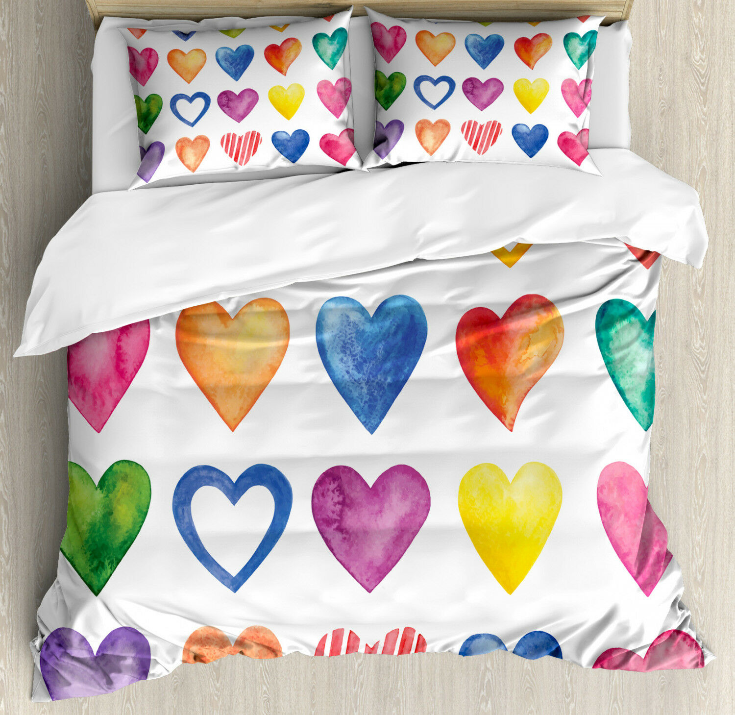 Grunge Duvet Cover Set with Pillow Shams Watercolor Heart Romance Print
