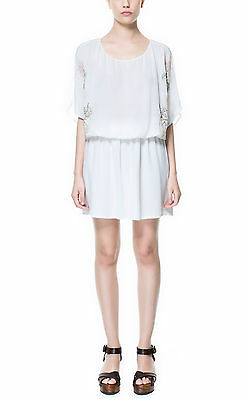 ZARA IVORY CREAM ECRU FLORAL EMBROIDERED CASUAL DRESS WITH BAT WINGS SIZE S_M