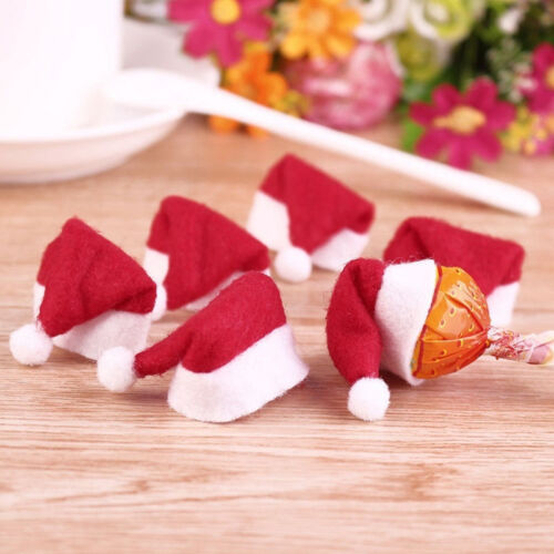 Newest 6X Mini Santa Claus Hat Christmas Xmas Holiday Lollipop Top Topper Decor