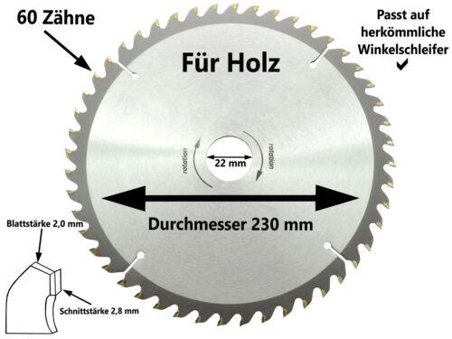 Lame de scie circulaire Lame de Scie Main Scie Circulaire 230 x 22 mm x 60 Z Flex Angle Meuleuse