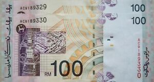 RM100 Ahmad_Don side sign 2 pcs Running Number Note AC 9189329 - 330