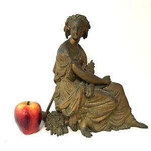 Large-Antique-Spelter-Figure-of-Roman-Beauty-Mantel-Clock-Topper