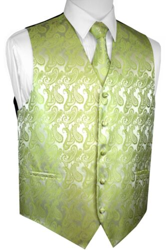 PROM FORMAL TIE /& HANKIE SET MEN/'S LIME PAISLEY TUXEDO VEST WEDDING DRESS