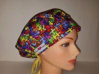 Autism Awareness / Bouffant Scrub Surgical/ponytail Caps