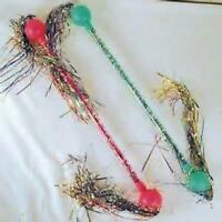 2 Twirling Streamer Cha Cha Baton Girl Toy Twirl Tinsel Batons Dance Wand