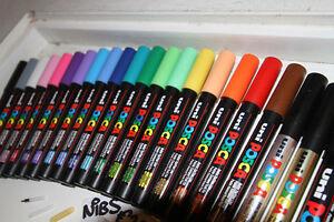 Uni-Ball-Posca-Marker-Pen-PC-3M-Bullet-Tip-Glass-Paint-Chalk-ALL-27-COLOURS