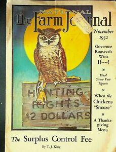 National Farm Journal Magazine November 1932 Owl Hunting Cover Chickens