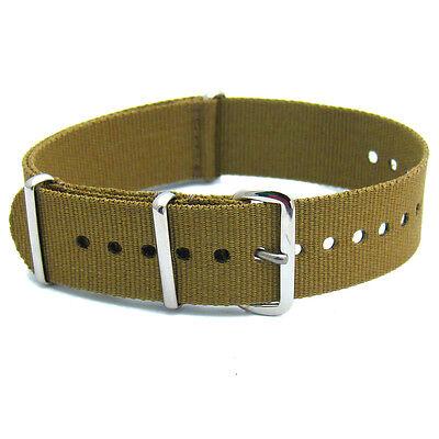 Military Style Watch Band Strap Webbing Canvas Thread Thru Plain, Striped & Camo