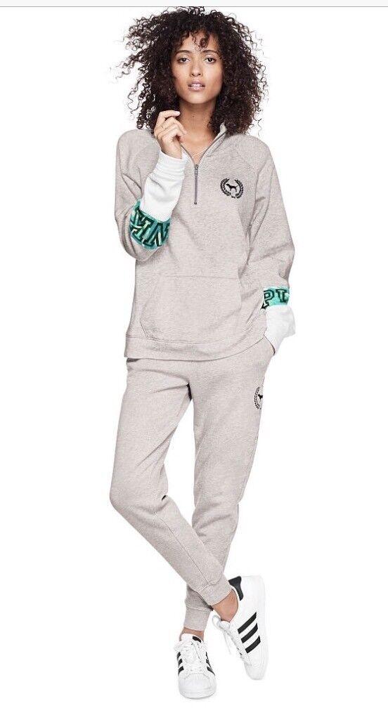 Victorias Secret PINK Campus Quarter Zip Sweatshirt Large Large Large cbcc9f
