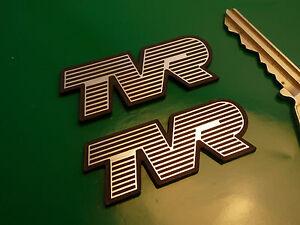 tvr text style self adhesive car badges 2 pair taimar griffith tuscan tasmin ebay. Black Bedroom Furniture Sets. Home Design Ideas
