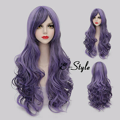 80CM Long Curly Gradient Purple Lolita Harajuku Women Girls Cosplay Party Wig