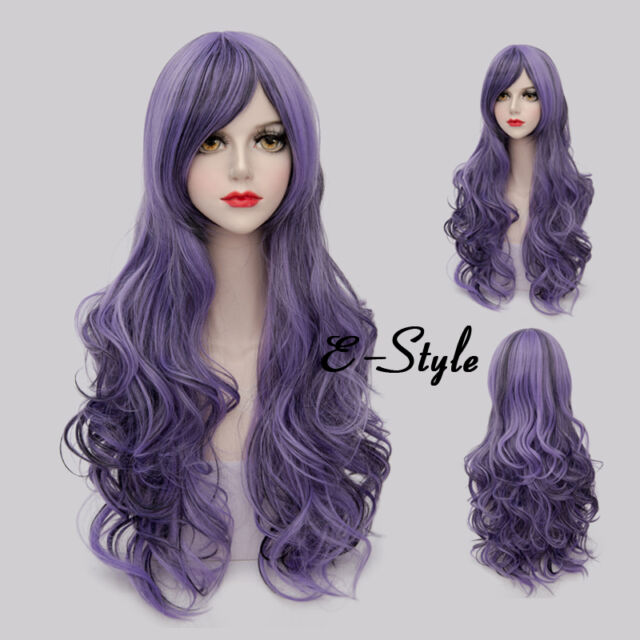 80CM Long Curly Gradient Purple Lolita Harajuku Women Girls Cosplay Party Wig