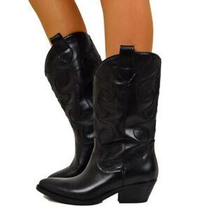 brand new 28f2d dda22 Dettagli su Stivali Donna Texani Punta Vera Pelle Ricamati Gambale Largo  MADE IN ITALY B44