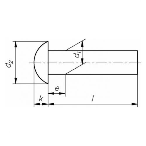 Stahl blank 10x DIN 660 Halbrundniete 6x40