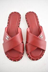 42d311947223 NIB Chanel Dark Red Leather Pink Black Braided CC Logo Mule Slide ...