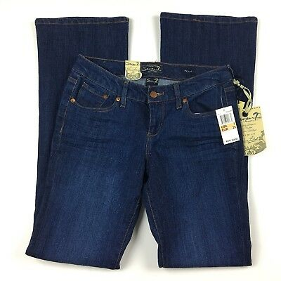 Jeans Symbol Of The Brand Seven7 Women's Jeans Dark Wash Flare 5 Pocket Low Rise Size 28 Nwt To Enjoy High Reputation In The International Market Women's Clothing