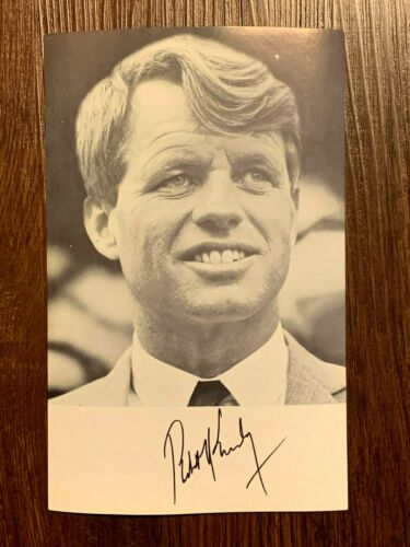 Original 1968 Robert Bobby Kennedy Autographed Campaign Photo Flyer Pamphlet