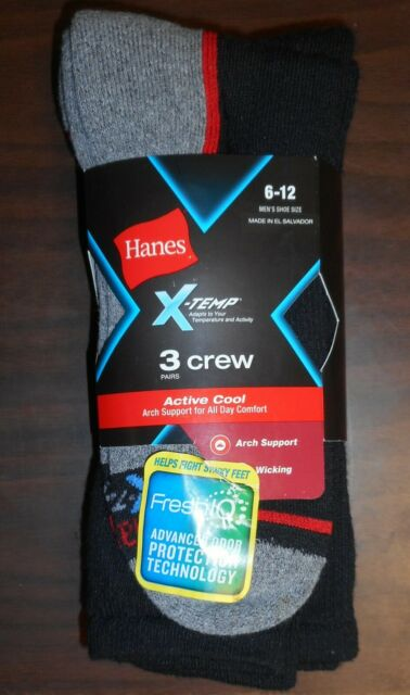 HANES X-TEMP Men Black Stretch Athletic Work Crew Sock Size10-13,3 //6 //12 Pairs