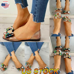 US-Women-Low-Heel-Slip-On-Sandals-Party-Ankle-Summer-Casual-Flats-Shoes-Size-5-8