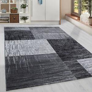 Détails sur Moderne à Poils Ras Tapis Carreaux Géométrique Gris Noir Blanc  Moucheté Salon