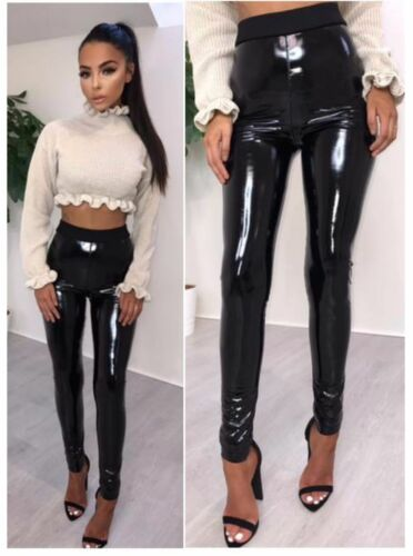 New Women Ladies Vinyl Pvc Wet Look Shinny Elasticated Leggings Leggings Pants