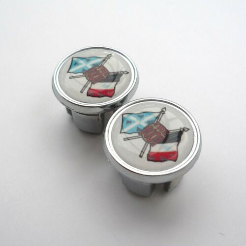 Chrome Racing Bar Plugs Repro Caps Vintage Style /'The Scot/' Cycles