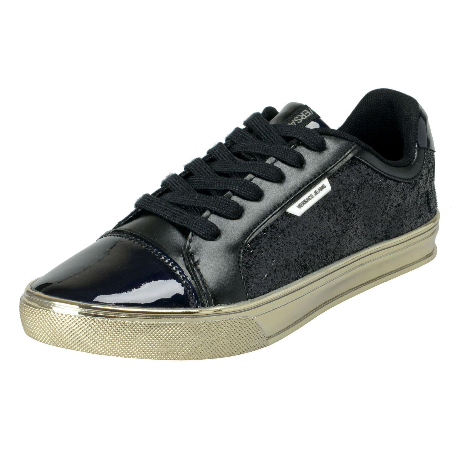 Versace Jeans Women's Sparkle Black Mesh Fashion Sneakers shoes Sz 6 7 8 9 10 11