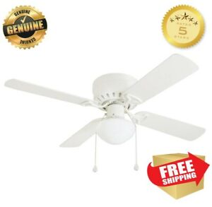 Harbor Breeze 42 In White Flush Mount Indoor Ceiling Fan With Light Kit Armitage 4883983138542 Ebay