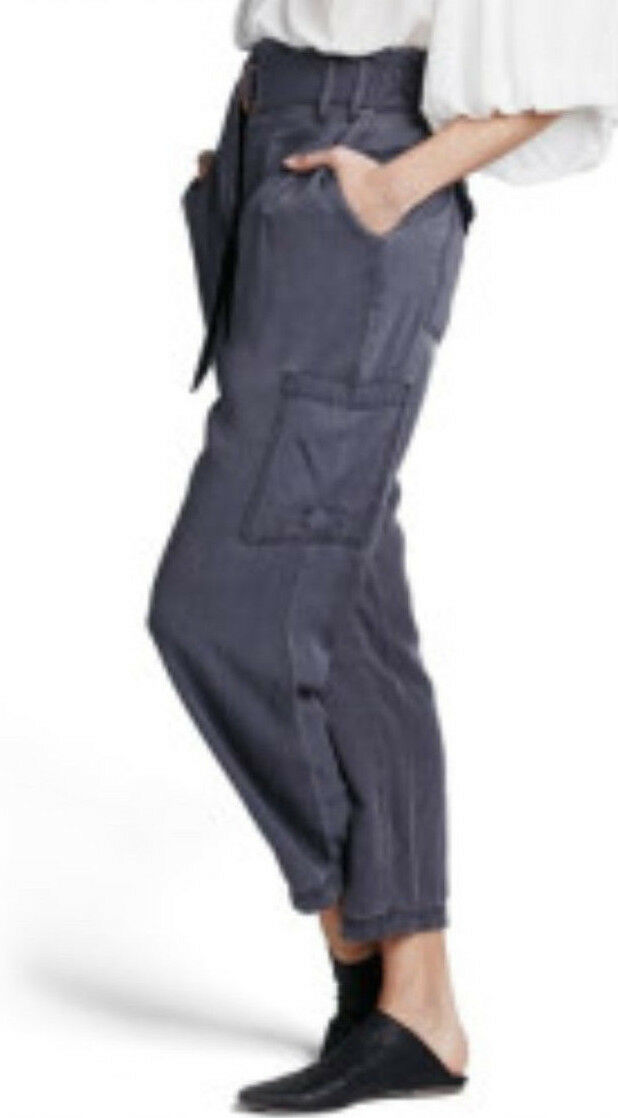 Free People Belted Cargo High Rise Light Weight Pants Dark Purple  128 Size 2