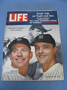 Details About Life Magazine August 18 1961 Ny Yankees Mickey Mantle Roger Maris Cover Nice
