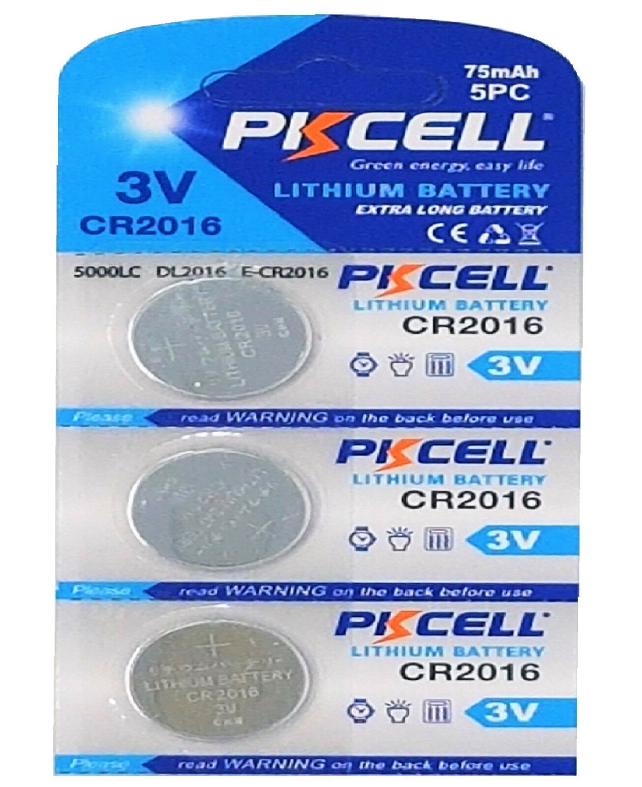 ☀ ☀ ☀ ☀ ☀ 3 x CR2016 3V Lithium Button Cell 75 Mah (1 Card A 3 batteries) PK