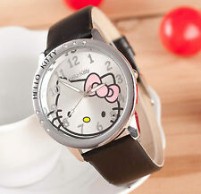 Reloj de pulsera niños Niñas Hello Kitty Negro analógico de cuero correa de acero de vuelta B