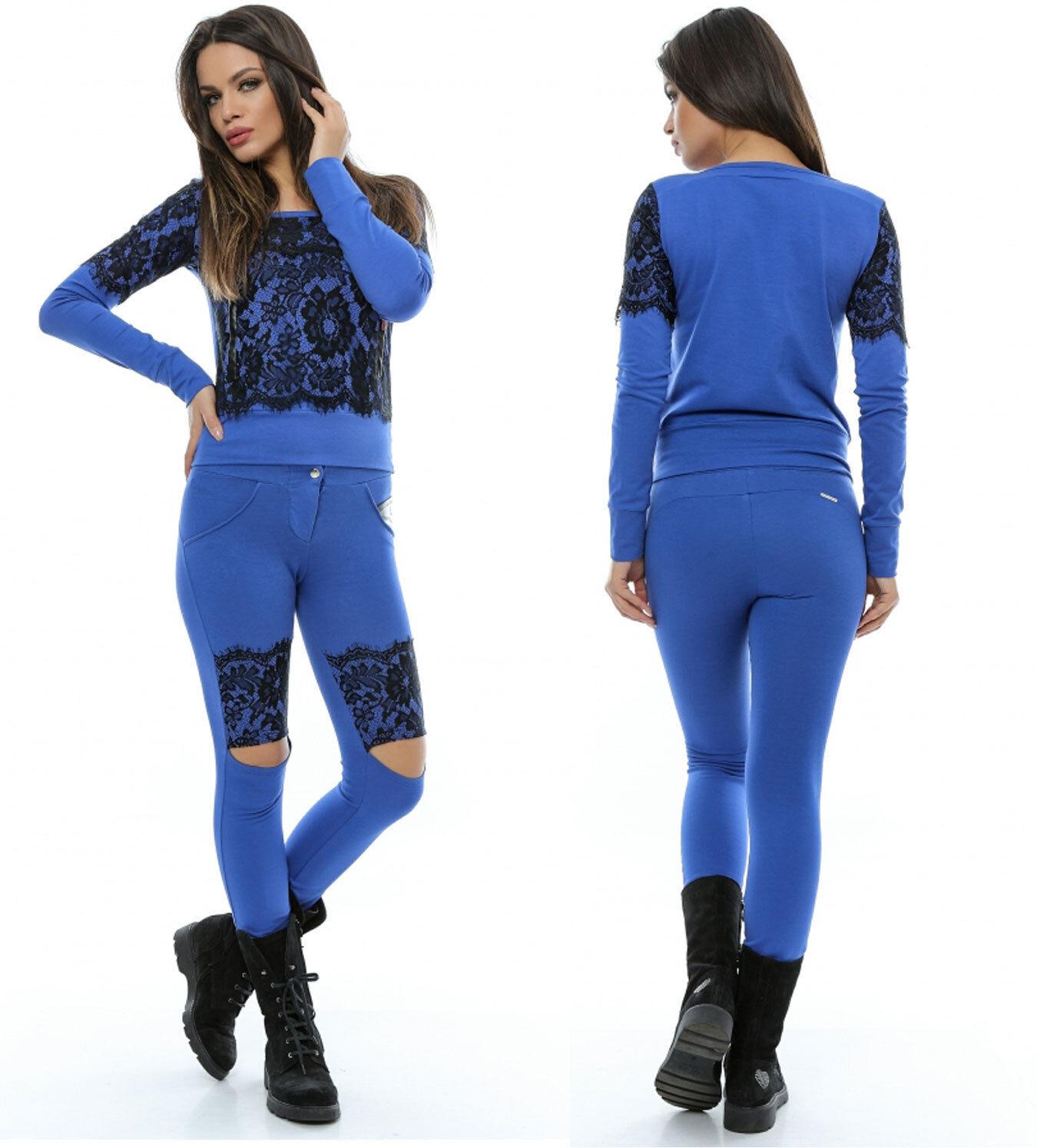 Foggi 2-Divisorio Casa Tuta Donna Donna Donna Pantaloni Pullover da Donna maglietta Pizzo Blu Grigio XS-M 1185b4