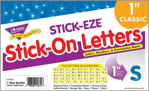 """324 Blue Sparkle 1/"""" Letters /& Numbers alphabet stickers"""