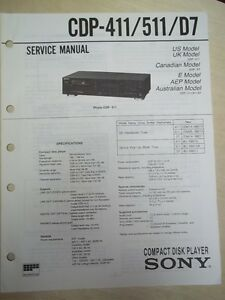 sony service repair manual cdp 411 511 d7 cd player ebay rh ebay com Denon CD Player Repair CD Player Repair Service