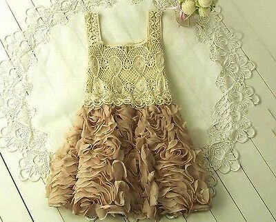 Vintage Boutique Crochet Rosette Toddler Flowergirl Wedding Pageant Dress Taupe