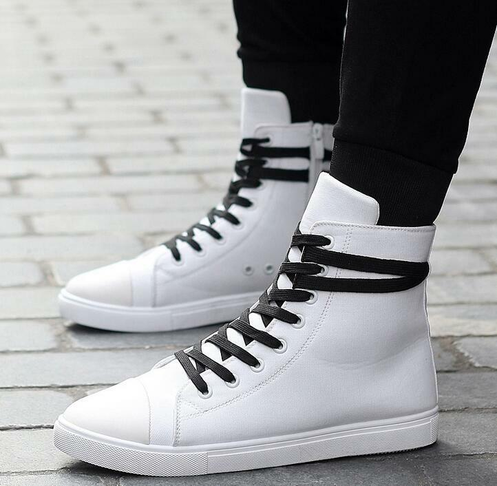 Mens High Top Board shoes Lace Up Ankle Strap Zipper Fashion Street Casual shoes