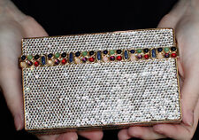 JUDITH LEIBER SWAROVSKI CRYSTAL BOX GEMSTONES GEM MINAUDIERE CLUTCH EVENING BAG