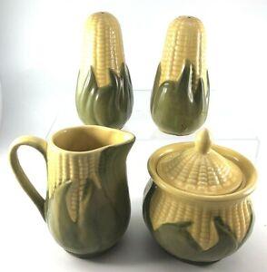 Vtg-SHAWNEE-Pottery-Yellow-CORN-KING-Sugar-Cv-039-rd-Creamer-Large-Salt-Pepper-4-pc