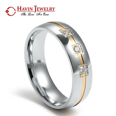 6mm Women's Men's Stainless Steel Wedding Band Ring CZ Crystal Anniversary Gift