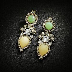Boucles-d-039-Oreilles-Clous-Dore-Vert-Pale-Goutte-Art-Deco-Retro-Mariage-Class-AA1